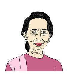 aung san suu kyi president of myanmar vector image vector image
