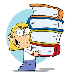 Blond School Girl Carrying A Stack Of Books vector image vector image