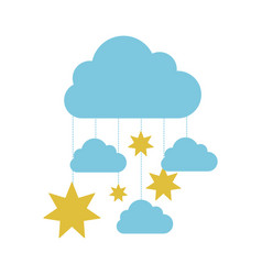Blue clouds with gold stars icon vector