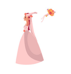 Bride throwing her bouquet isolated vector