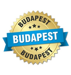 Budapest round golden badge with blue ribbon vector