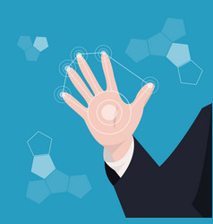 business hand the modern circle virtual screen vector image