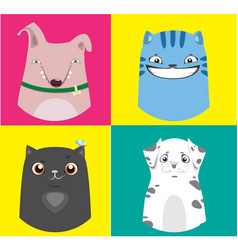 Cartoon dogs and cats collection vector