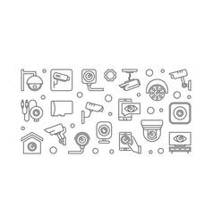 Cctv and surveillance camera horizontal vector