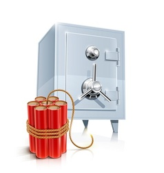close metallic safe with bomb vector image