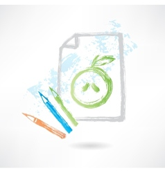 drawing apple grunge icon vector image