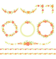 Flower wreath frame corner border vector