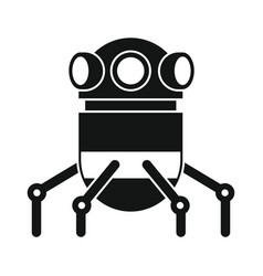 funny robot in black flat silhouette style vector image vector image