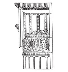 Ionic angle column from the temple of minerva vector