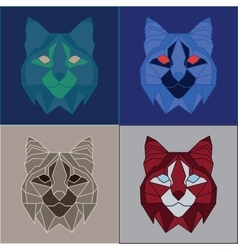 Low poly bobcats set vector