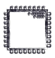 microchip closeup icon in blurred silhouette vector image