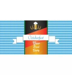 Oktoberfest beer festival with white ribbon vector