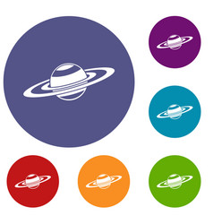 saturn rings icons set vector image vector image