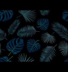 Seamless hand drawn pattern with green palm vector