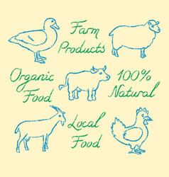 set of hand drawn farm animals icons and lettering vector image vector image