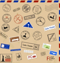 Set of various post seals brands coupons vector image vector image
