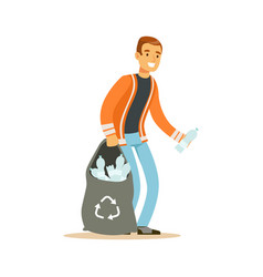 smiling man gathering garbage and plastic bottles vector image vector image