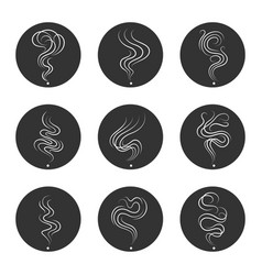 Smoke smell icons in circles vector