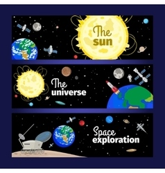 Space theme banners set vector image vector image