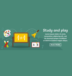 Study and play kid banner horizontal concept vector