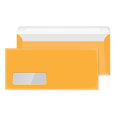 Two blank yellow envelopes opened and closed vector image