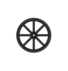 vintage wooden wheel in black design vector image vector image