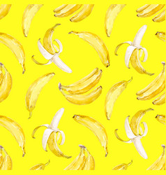 Watercolor banana pattern vector