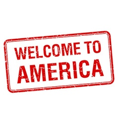 Welcome to america red grunge square stamp vector