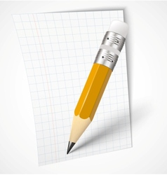 Realistic yellow pencil with paper vector