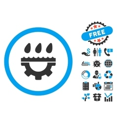 Water service gear flat icon with bonus vector