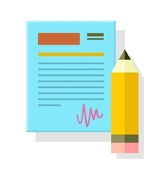 Signed office document with pencil isolated vector
