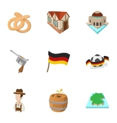 Country germany icons set cartoon style vector
