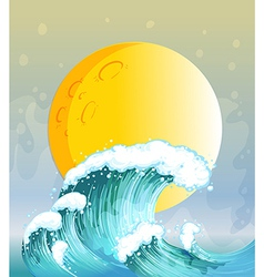 The big wave and the big sun vector image