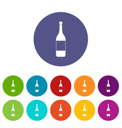One bottle icons set flat vector