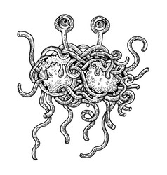 Flying spaghetti monster engraving style vector