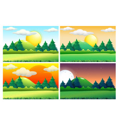 Four scenes of green fields at different times of vector