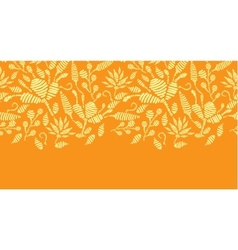 Golden floral embroidery horizontal border vector
