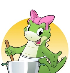 Cooking dino vector