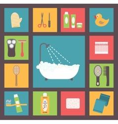 Bath supplies hygiene accessories cosmetics hair vector