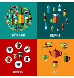 Drinks and beverages flat compositions vector