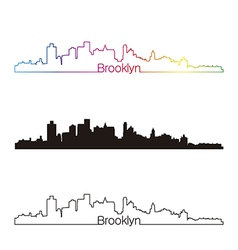Brooklyn skyline linear style with rainbow vector