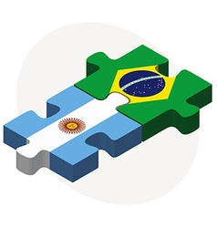 Argentina and brazil flags in puzzle vector