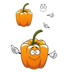 Orange cartoon bell pepper vegetable vector