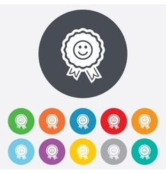 Award smile icon happy face symbol vector
