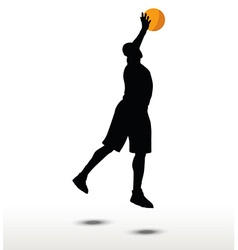Basketball player slhouette in slam pose vector