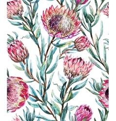 Watercolor tropical protea pattern vector image