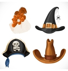 Set of hats for the carnival costumes - female vector
