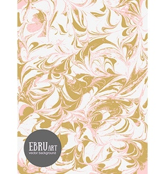 Abstract ebru background gold and pink vector