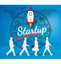 Silhouette people for business startup vector