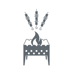 Brazier with shashlik icon vector